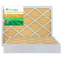 FilterBuy 24x25x1 MERV 11 Pleated AC Furnace Air Filter, (Pack of 6 Filters), 24x25x1 – Gold