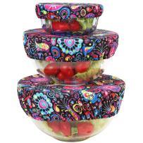 Wegreeco Reusable Bowl Covers - Set of 3,Bloom