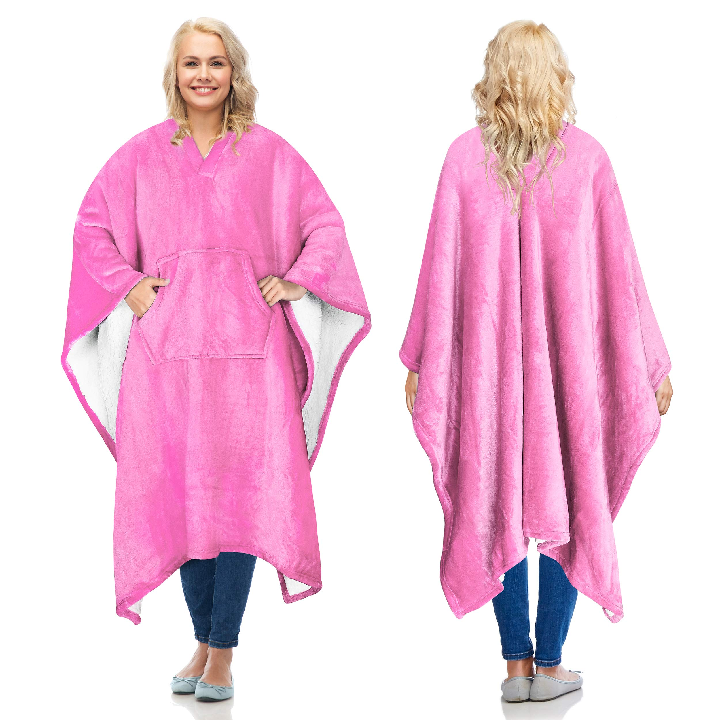 Catalonia Sherpa Wearable Blanket Poncho for Adult Women Men,Wrap Blanket Cape with Pocket,Warm,Soft,Cozy,Snuggly,Comfort Gift,No Sleeves,Pink