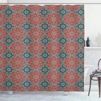 """Ambesonne Mandala Shower Curtain, Culture Inspired Middle Eastern Motifs Checkered Pattern, Cloth Fabric Bathroom Decor Set with Hooks, 84"""" Long Extra, Blue Coral"""