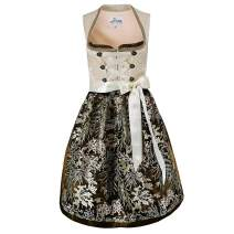 Exclusive Dirndl 2 pcs Elsa Traditional Dress in Beige with Apron for Oktoberfest Carnival