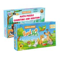 2 Counting Toys - Pet Food Counting Games and 6 Counting & Addition Puzzles (53 Pieces) | Learning Number for Toddlers (Great Gift for Pet Lover Kids - Best for 2,3,4,and 5 Year olds)