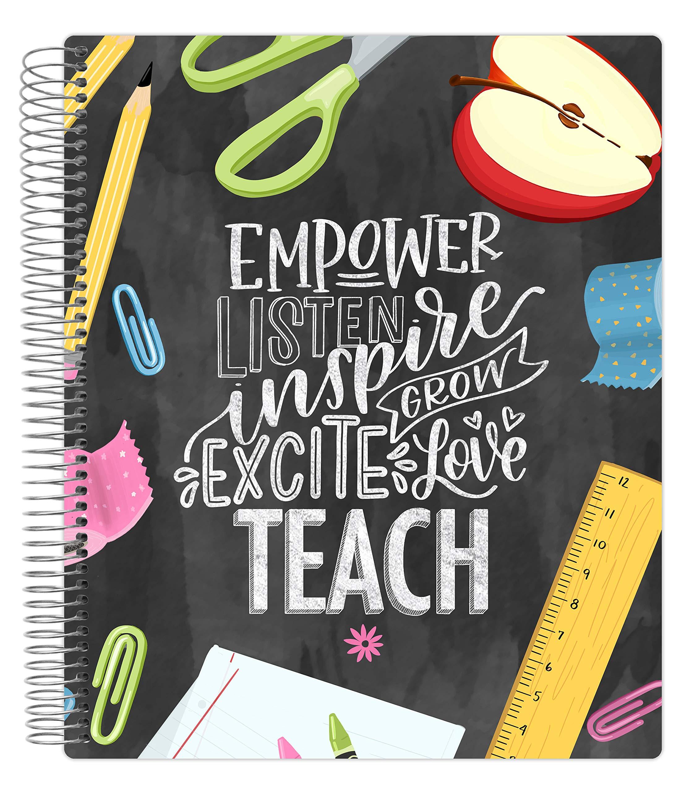 "bloom daily planners Undated Academic Year Teacher Planner & Calendar - Lesson Plan Organizer Book (9"" x 11"") - Chalkboard"