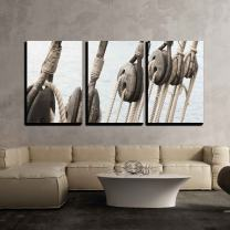 """wall26 3 Piece Canvas Wall Art - Rigging of an Ancient Sailing Vessel - Modern Home Decor Stretched and Framed Ready to Hang - 24""""x36""""x3 Panels"""