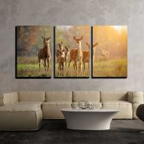 "wall26 - 3 Piece Canvas Wall Art - Deer in Autumn Field - Modern Home Decor Stretched and Framed Ready to Hang - 16""x24""x3 Panels"