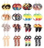 ORAZIO 16 Pairs African Wood Drop Earrings for Women Round Lightweight Statement Dangle Earrings African Map Ethnic Style Earrings