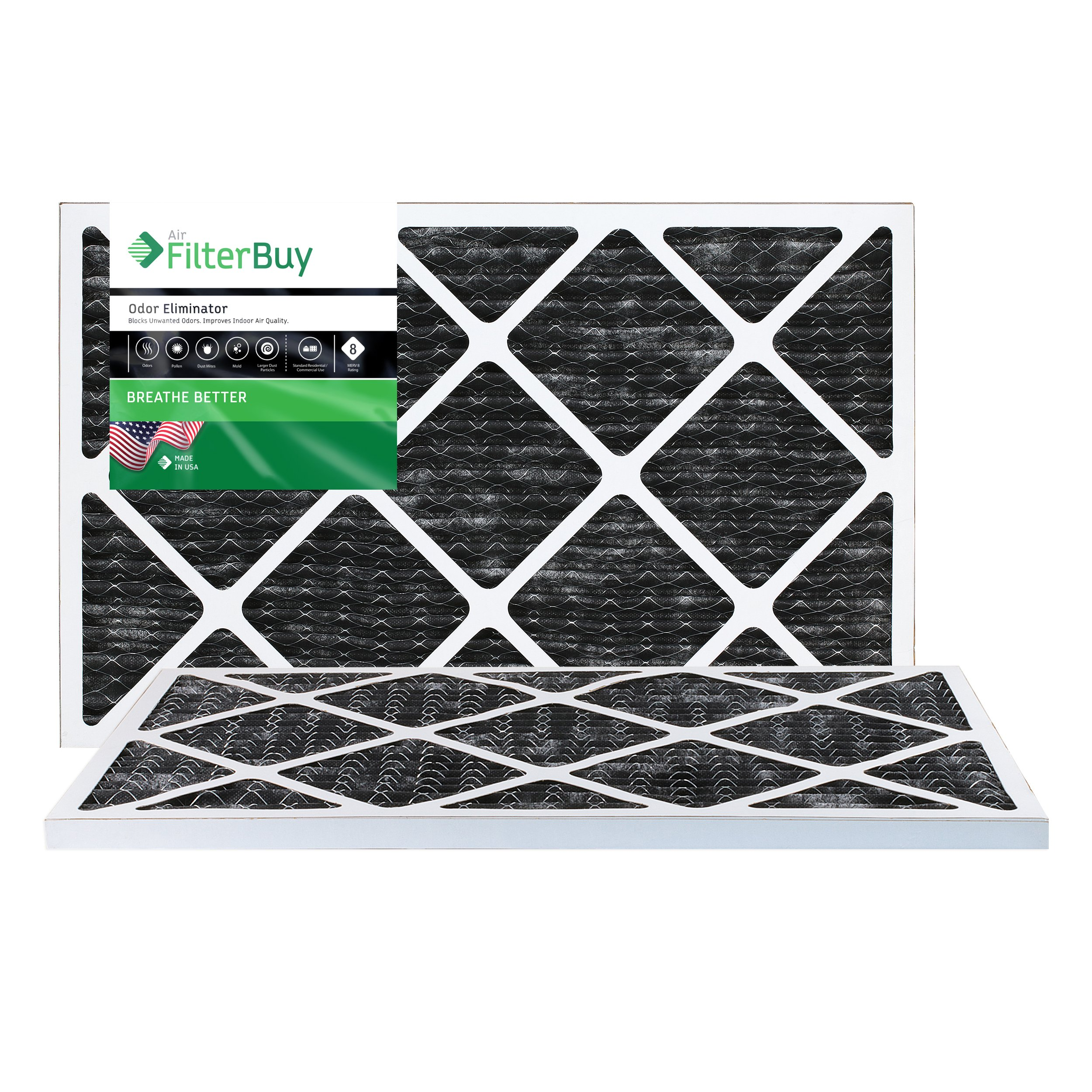 FilterBuy Allergen Odor Eliminator 16x24x1 MERV 8 Pleated AC Furnace Air Filter with Activated Carbon - Pack of 2-16x24x1