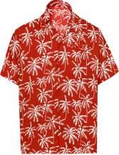 LA LEELA Men's Night Club Party Dress Short Sleeve Hawaiian Shirt