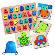 Wooden Jigsaw Puzzles Animal and Alphabet Puzzle Early Learning Educational Toy Gift for 1 2 3 4 5 Years Old Boys Girls