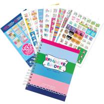 "Reminder Binder 2020-2021 18-Month Planner + Sticker Set Weekly & Monthly Views, 6.5""x8.5"", Hard Cover, Elastic Closure, Planner Stickers, to-Do Lists, Pockets, Tabs, Keepsake Box"