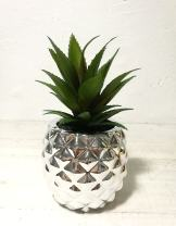 """Pretty Home Artificial Potted Succulent 7.8"""" Pineapple (Silver)"""