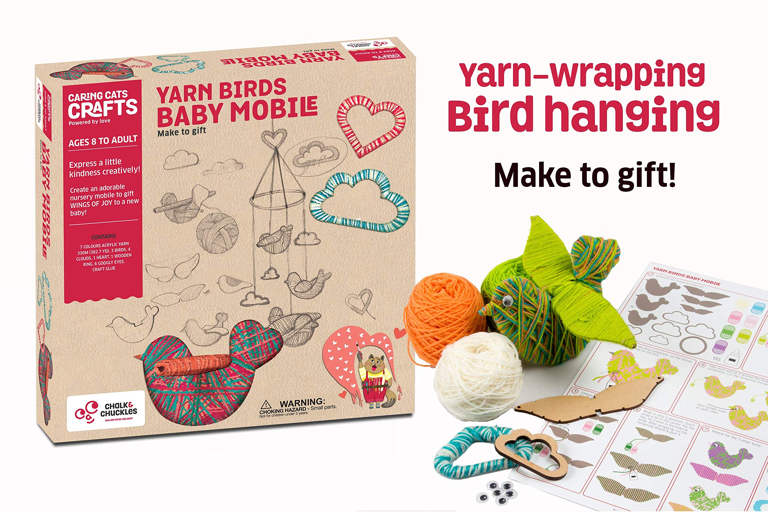 Chalk and Chuckles Yarn Wrapping, String Art Craft Kit - Bird Themed DIY Hanging Mobile for Kids and Adults Ages 8, 9, 10, 11, 12, 13 Years Old and Up