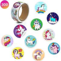 Favonir Unicorn Stationery Roll Stickers – 300 Count 10 Creative Assorted Designs – 1.5 Inch Round Labels – Ideal As Birthday Party Favor Decoration, School And Home Reward Prizes, Carnival And Events