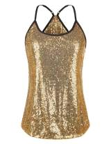 Meaneor Women's Sequin Top Spaghetti Strap Tank Top Sparkle Shimmer Camisole Vest