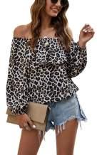 Hibluco Women's Off Shoulder Top Cute Puff Sleeve Polka Dot Ruffle Blouse