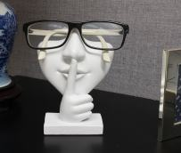 JewelryNanny Artsy Face Eyeglass Holder Stand - Sculpted Nose for Eyeglasses or Sunglasses, Keep a Secret, White