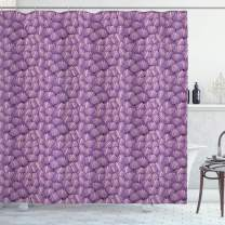 "Ambesonne Shells Shower Curtain, Ornamental Seashells Interlacing Pattern Graded Tones of Purple with Pink, Cloth Fabric Bathroom Decor Set with Hooks, 75"" Long, Purple Pink"