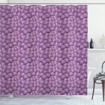 "Ambesonne Shells Shower Curtain, Ornamental Seashells Interlacing Pattern Graded Tones of Purple with Pink, Cloth Fabric Bathroom Decor Set with Hooks, 75"" Long, Purple Pink"