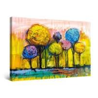 "Startonight Canvas Wall Art Abstract Rainbow Trees Painting Yellow Blue Purple Framed 32"" x 48"""