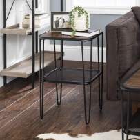 Walker Edison Furniture Company Mid Century Hairpin Metal Frame Square Modern Side Accent Living Room Storage Small End Table, Walnut Brown