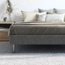 Classic Brands 125029-5250 Upholstered Platform Bed, Queen, Grey