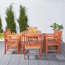 Vifah V98SET12 Red Brown 7-Piece Wood Patio Dining Set