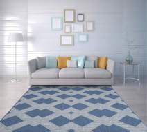 "PRIYATE Florida Collection - Geo Zigzag Indoor/Outdoor Area Rug | Soft, Water Repellent, Color Fast Rugs for Patio, Deck, Entryway, Living Room, Bedroom, Kids' Room and More - Blue (5'3"" X 7'6"")"
