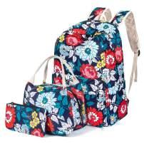 H HIKKER-LINK Floral School Backpack Set Bookbag&Lunch Bag&Pencil Case Dark Blue