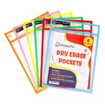 Pocket Pro 6 Dry Erase Pockets | Clear Plastic Reusable Sleeves | Multi-Colored Sheets | 10 x 14 inches | Teacher Supplies for Classroom Organization