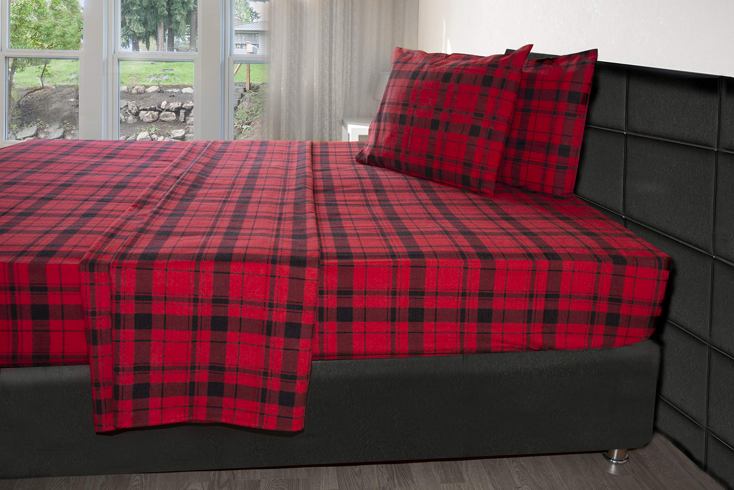 Friends at Home Turkish Cotton 180 GSM Heavyweight Flannel Winter Sheets Set (Plaid 1, Twin/Single)