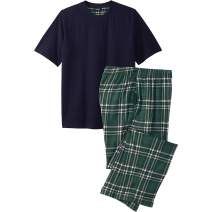 KingSize Men's Big & Tall Jersey Knit Plaid Pajama Set
