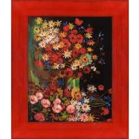 """La Pastiche VG7118-FR-838818X10 Vase with Poppies Cornflowers Peonies and Chrysanthemums with Stiletto Red Framed Hand Painted Oil Reproduction, 13.5"""" x 11.5"""", Multi"""