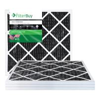 FilterBuy Allergen Odor Eliminator 20x20x1 MERV 8 Pleated AC Furnace Air Filter with Activated Carbon - Pack of 4-20x20x1