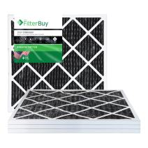 FilterBuy Allergen Odor Eliminator 25x25x1 MERV 8 Pleated AC Furnace Air Filter with Activated Carbon - Pack of 4-25x25x1