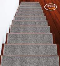 Stair Treads Leaves Collection Contemporary, Cozy, Vibrant and Soft Stair Treads, 9'' x 28'', Gray, Pack of 4 [100% Polypropylene] Tape Applied