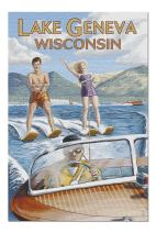 Lake Geneva, Wisconsin - Water Skiing Scene (Premium 1000 Piece Jigsaw Puzzle for Adults, 20x30, Made in USA!)