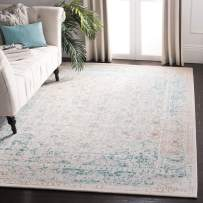 """Safavieh Passion Collection PAS405B Oriental Vintage Watercolor Turquoise and Ivory Distressed Area Rug (4' x 5'7"""")"""