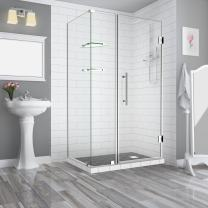 """Aston SEN962EZ-CH-493532-10 Bromley GS Frameless Hinged Shower Enclosure with StarCast Clear Glass and Shelves, 48.25"""" to 49.25"""" x 32.375"""" x 72"""", Polished Chrome"""