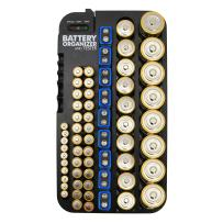 Whizzotech Battery Organizer and Tester for AA AAA C D 9V Battery Storage Case/Holder/Container (Holds 72 Batteries with Tester)