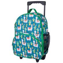 Wildkin Kids Rolling Luggage for Boys and Girls, Carry on Luggage Size is Perfect for School and Overnight Travel, Measures 16 x 12 x 6 Inches, BPA-free, Olive Kids (Llamas and Cactus)