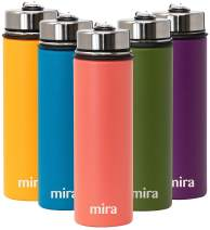 MIRA 22 Oz Stainless Steel Vacuum Insulated Wide Mouth Water Bottle with 2 Caps - Thermos Keeps Cold for 24 hours, Hot for 12 hours - Double Walled Hydro Travel Flask - Coral