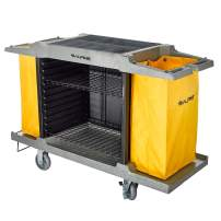 Alpine Industries Housekeeping Cart - Janitorial Cleaning Cart -2 Large Shelves - Commercial Rolling Janitor Caddy with Vinyl Bag - Custodial Utility Carts (2 Shelf Cart)