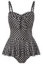NO NO CAT Flower Printing Modest 1 Piece Swimwear Cover Up Swimdress Plus Size for Women