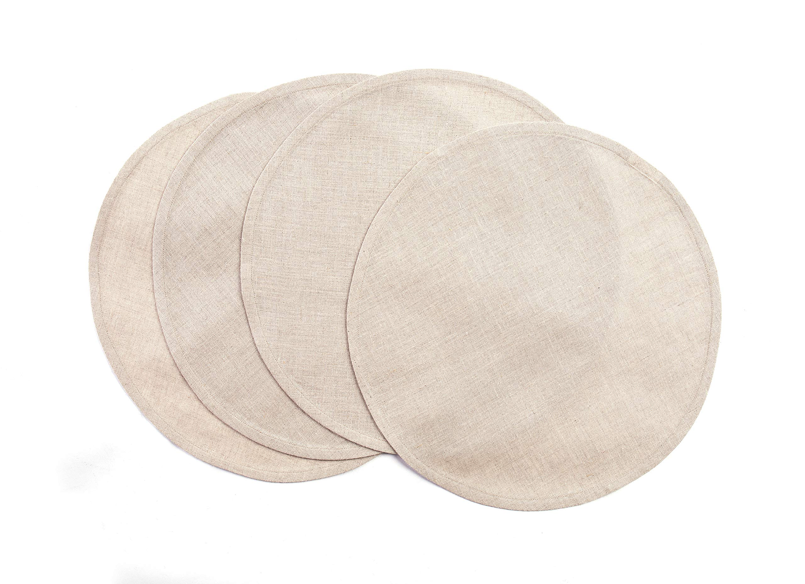 Solino Home 100% Pure Linen Round Placemats – Natural, Set of 4, 15 Inch Natural Fabric, European Flax – Handcrafted Machine Washable Indoor & Outdoor Tablemat
