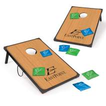 EastPoint Sports Cornhole Game Set Bean Bag Toss MDF - 2' W x 3' L - Built-In Storage, Convenient Carry Handles and 8 Premium Bean Bags