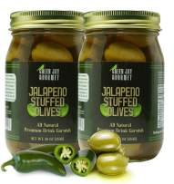 Green Jay Gourmet Jalapeno Stuffed Olives – Stuffed Green Olives for Cocktail Garnish & Cheese Board Recipes – Dirty Martini Olives & Cocktail Olives – Gourmet Olives – All Natural – Large – 32 Ounces