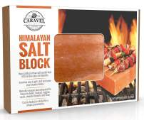 "Himalayan Salt Block - Grill Brick for Searing, Grilling, Heating, Chilling, Preparing and Seasoning - Beautiful Pink Salt BBQ Accessory - 8"" x 8"" x 1.5"""