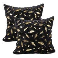 YOUR SMILE Pack of 2 Solid Color Gold Feather Plush Fur Decorative Throw Pillow Case Cushion Cover Pillowcase for Couch Sofa Bed,18 x 18 Inches,Black