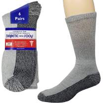 Debra Weitzner Diabetic Crew Socks Reinforced Heel and Toe Non-Binding Cushion Socks for Men and Women 6 Pairs Grey/Black Sole 13-15