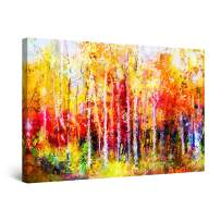 """Startonight Canvas Wall Art Abstract - Colored Landscape Forest Trees Italy Painting - Large Framed 32"""" x 48"""""""